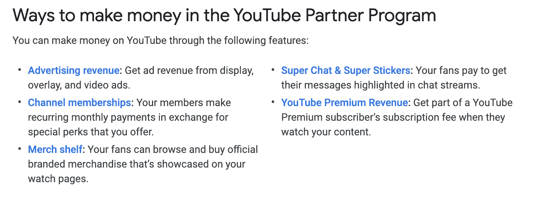 Youtube Monetization methods